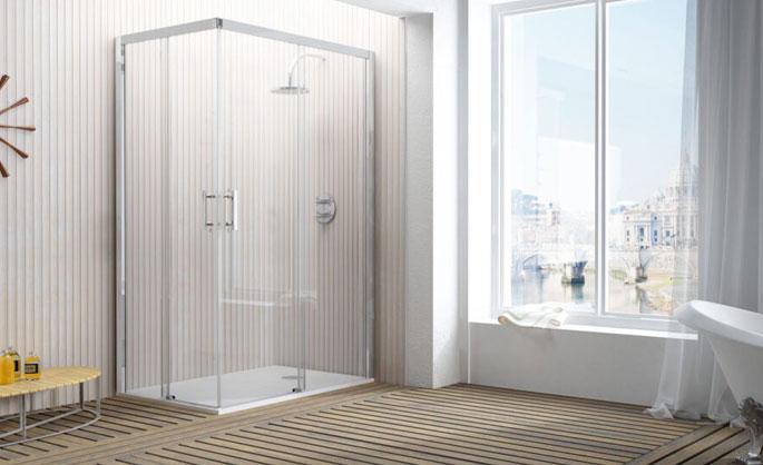 Aluminios Tecnoal - Mampara de baño hojas correderas en esquina